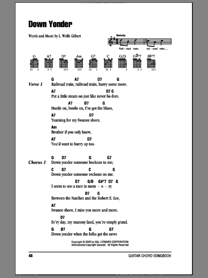 Down Yonder sheet music for guitar (chords) by L. Wolfe Gilbert. Score Image Preview.