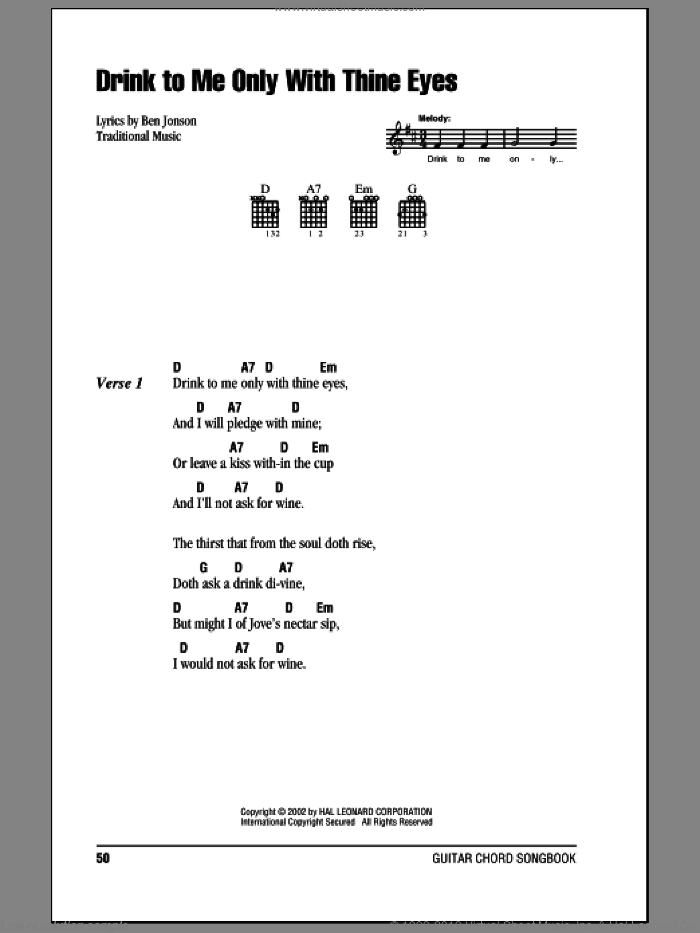 Drink To Me Only With Thine Eyes sheet music for guitar (chords), intermediate skill level