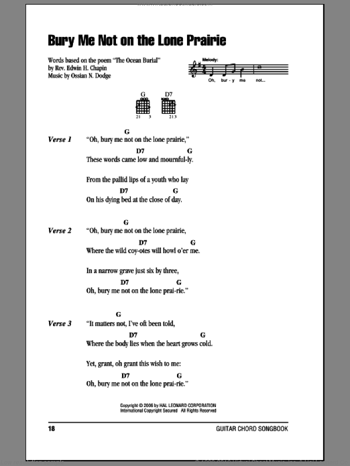 Bury Me Not On The Lone Prairie sheet music for guitar (chords) by Ossian N. Dodge
