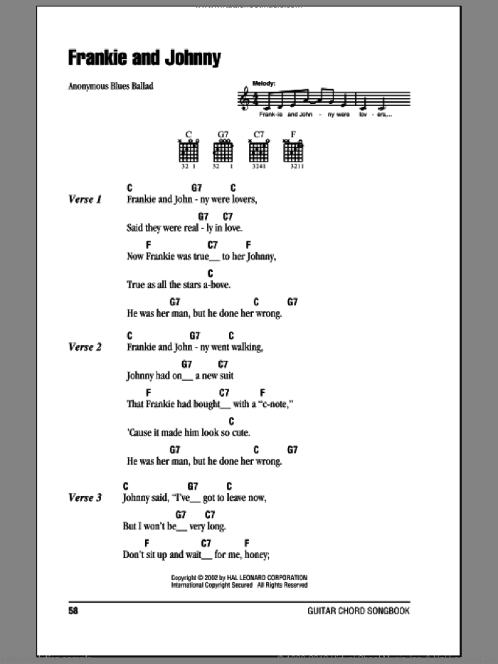 Frankie And Johnny sheet music for guitar (chords) by Anonymous, intermediate. Score Image Preview.