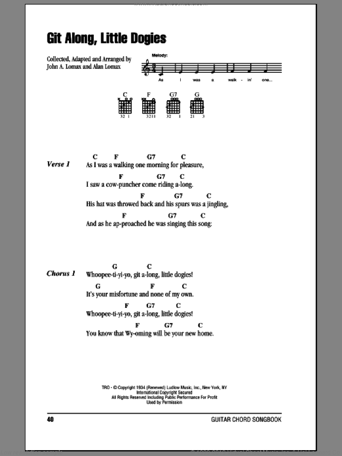 Git Along, Little Dogies sheet music for guitar (chords) by John A. Lomax. Score Image Preview.