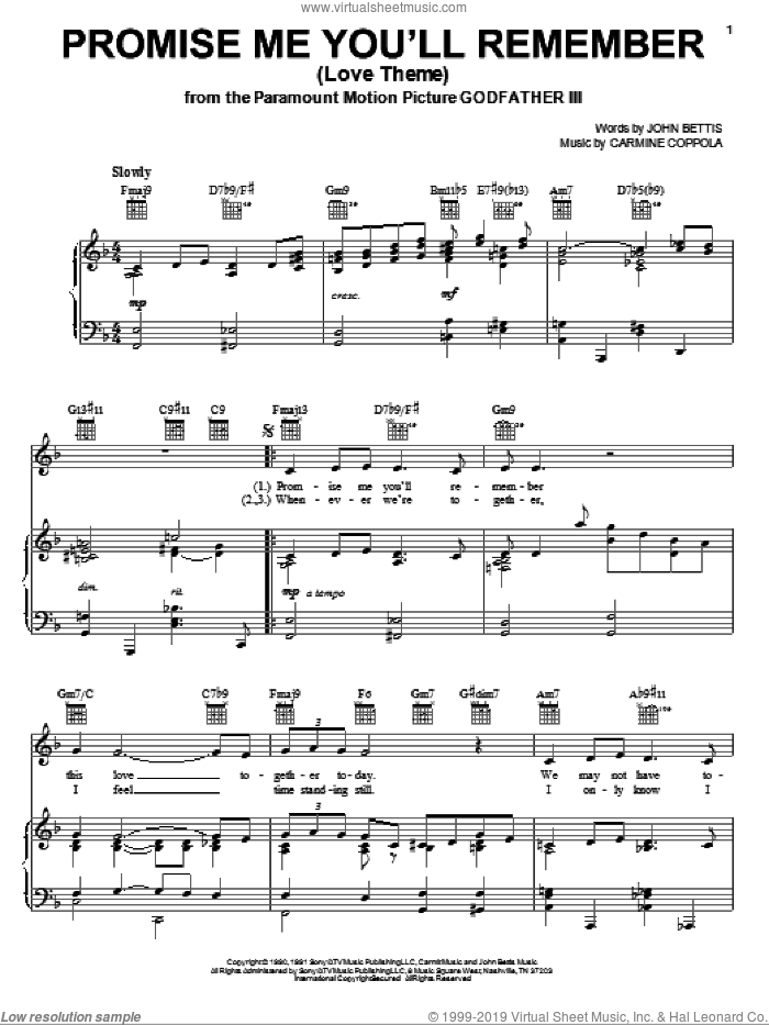 Promise Me You'll Remember (Love Theme) sheet music for voice, piano or guitar by John Bettis and Carmine Coppola, intermediate skill level