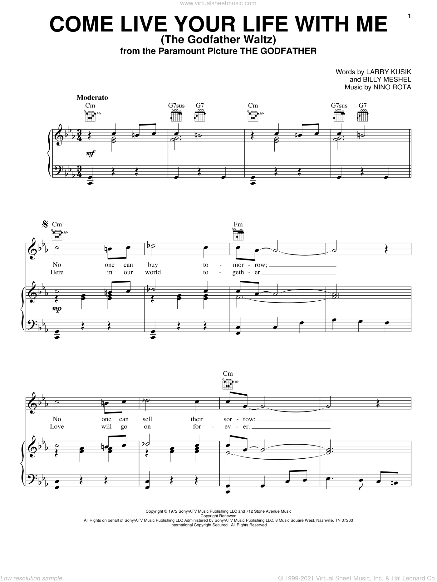 Come Live Your Life With Me (The Godfather Waltz) sheet music for voice, piano or guitar by Larry Kusik and Nino Rota. Score Image Preview.