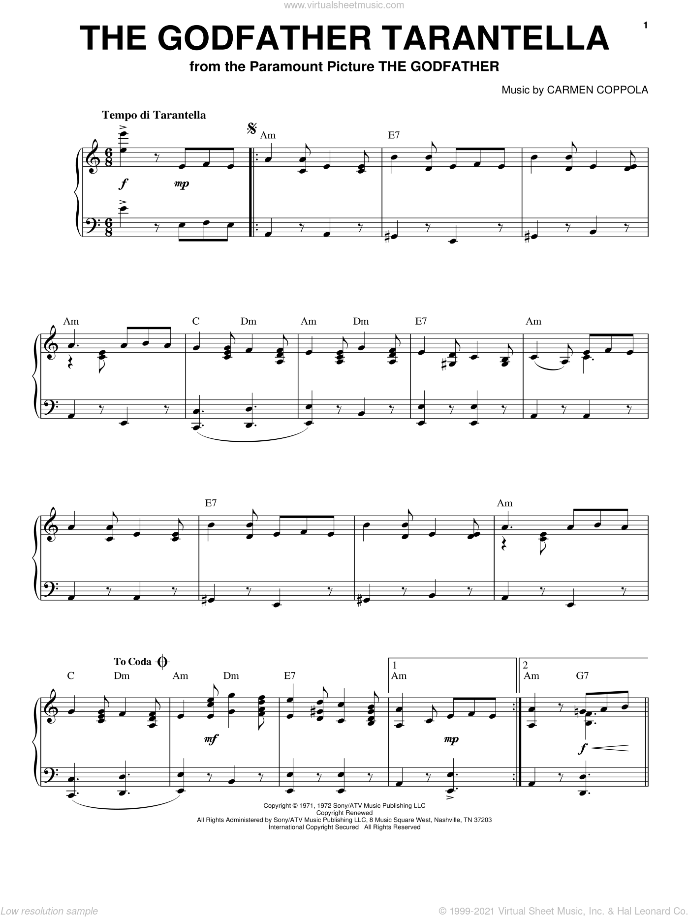 The Godfather Tarantella sheet music for voice, piano or guitar by Carmen Coppola, classical score, intermediate skill level
