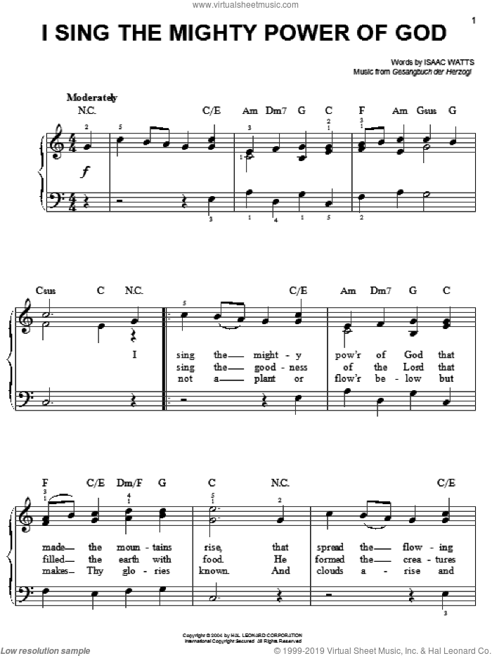 I Sing The Mighty Power Of God sheet music for piano solo by Isaac Watts and Gesangbuch der Herzogl. Score Image Preview.