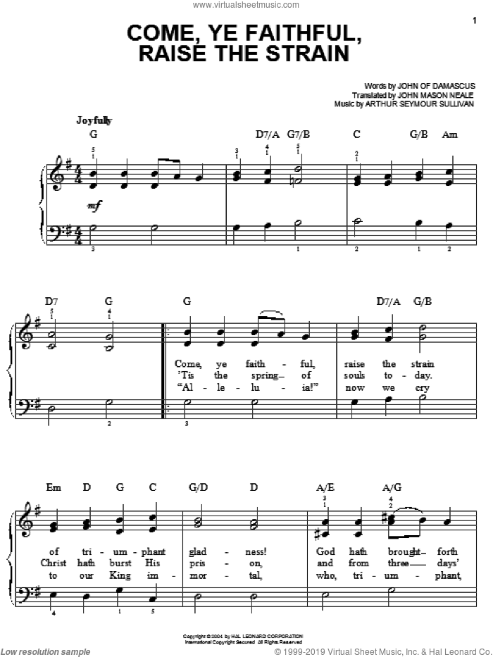 Come, Ye Faithful, Raise The Strain sheet music for piano solo by John of Damascus, Arthur Sullivan and John Mason Neale. Score Image Preview.