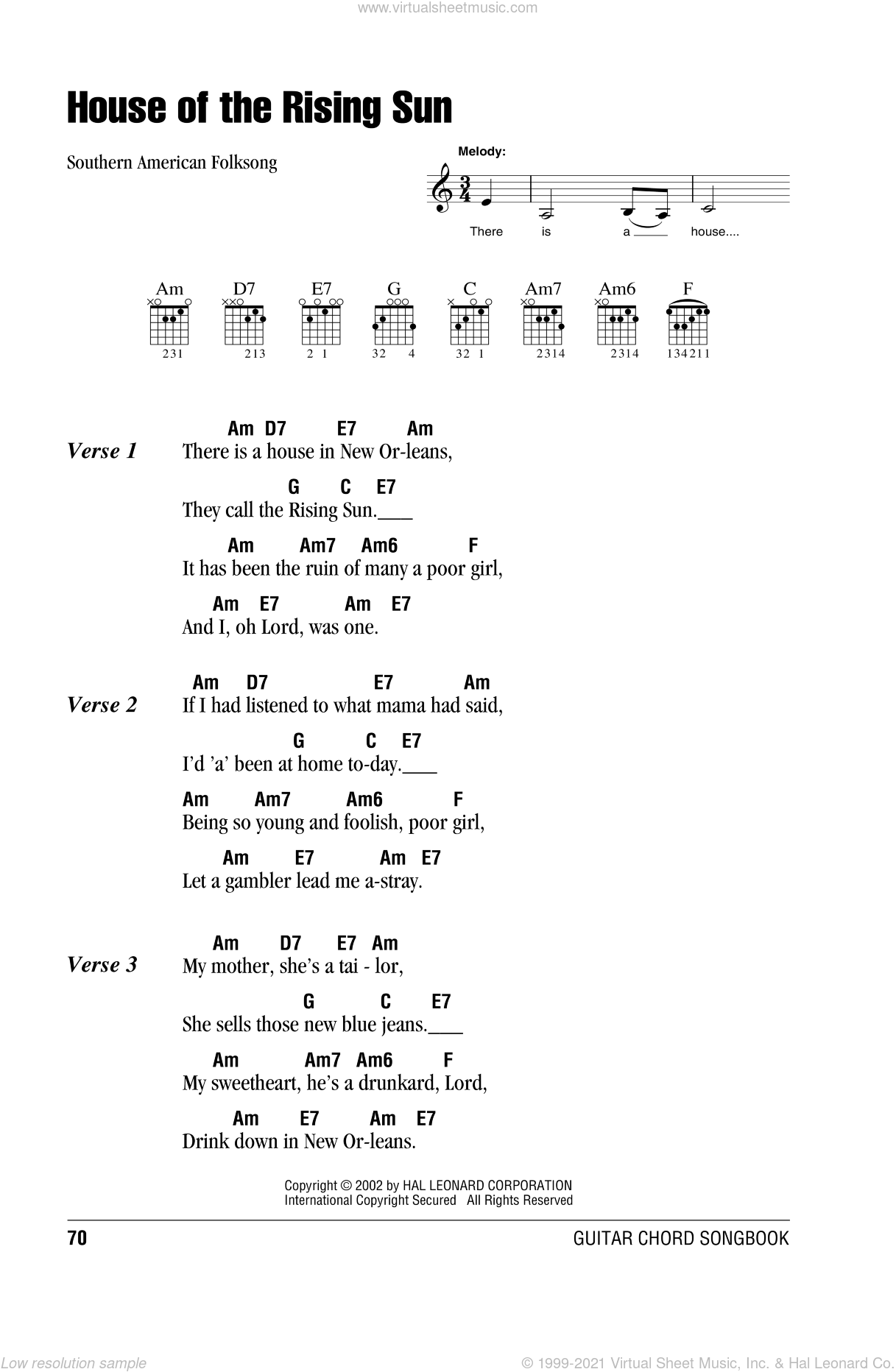 House Of The Rising Sun sheet music for guitar (chords), intermediate skill level