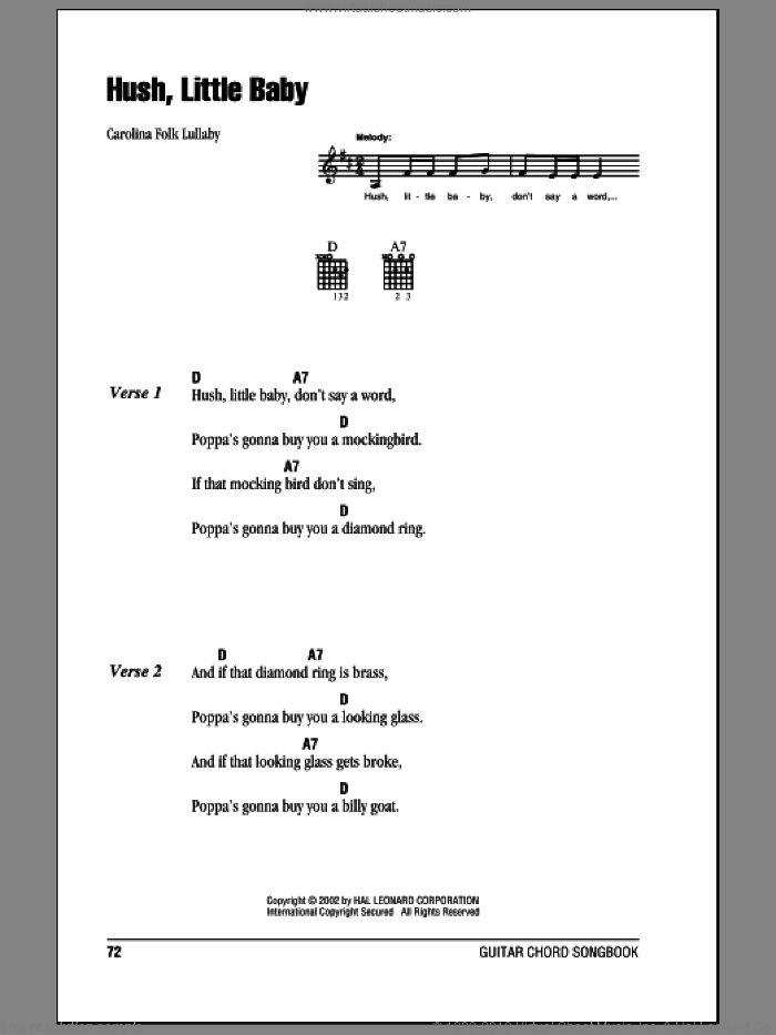 Hush Little Baby sheet music for guitar (chords) by Carolina Folk Lullaby and Miscellaneous