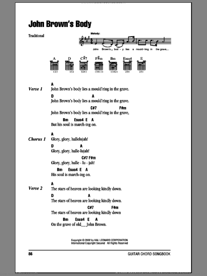 John Brown's Body sheet music for guitar (chords). Score Image Preview.