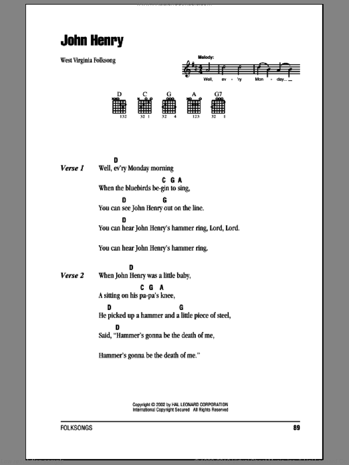 John Henry sheet music for guitar (chords) by West Virginia Folksong. Score Image Preview.