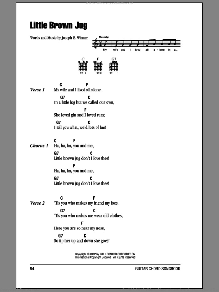 Little Brown Jug sheet music for guitar (chords) by Joseph E. Winner. Score Image Preview.