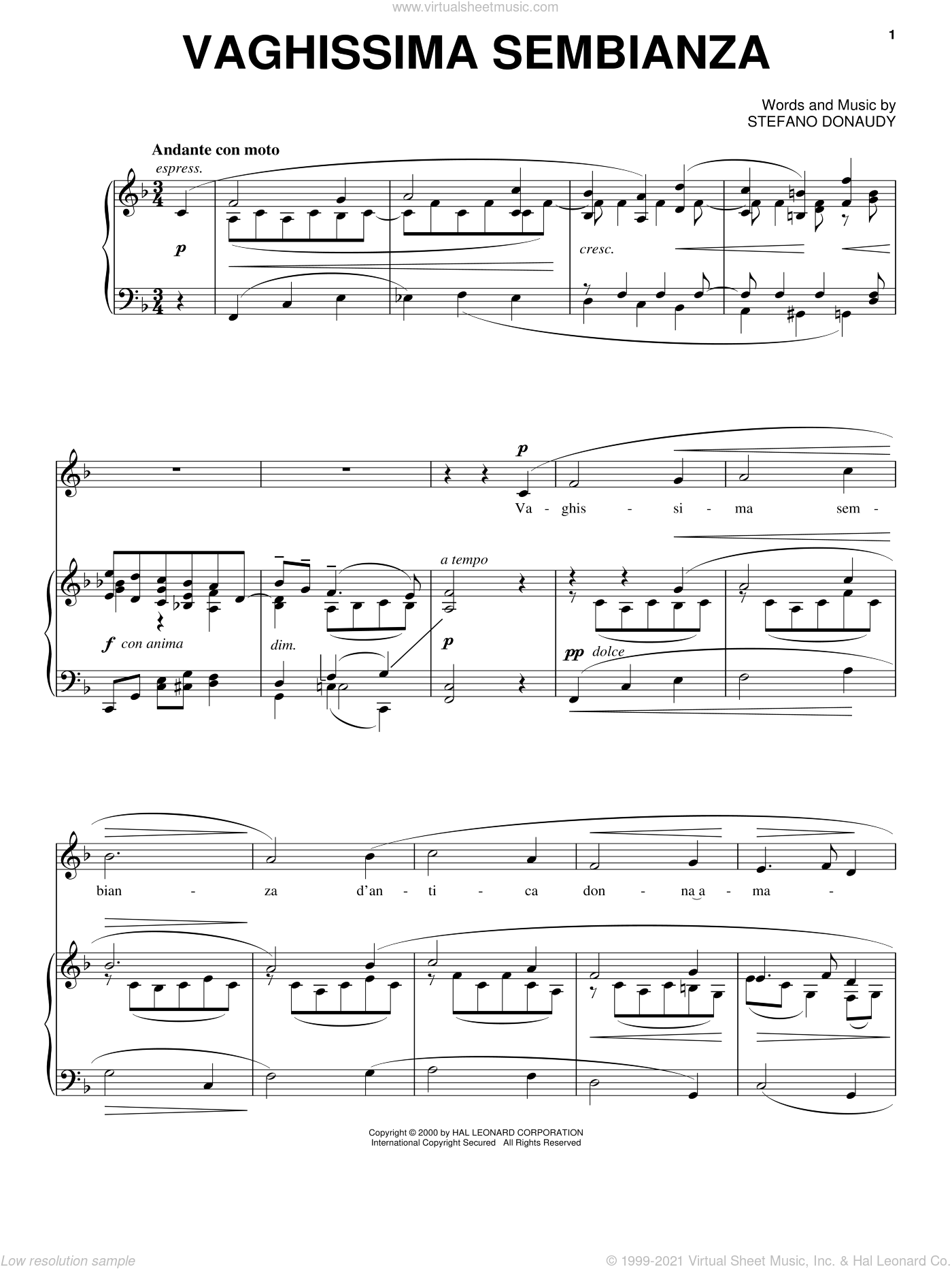 Vaghissima Sembianza sheet music for voice, piano or guitar by Stefano Donaudy, intermediate skill level
