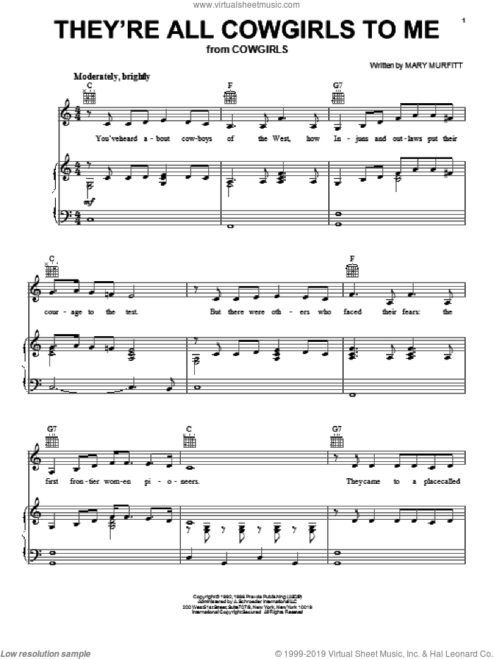 They're All Cowgirls To Me sheet music for voice, piano or guitar by Mary Murfitt. Score Image Preview.