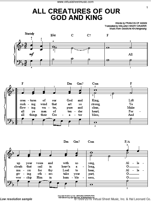 All Creatures Of Our God And King sheet music for piano solo (chords) by William Henry Draper