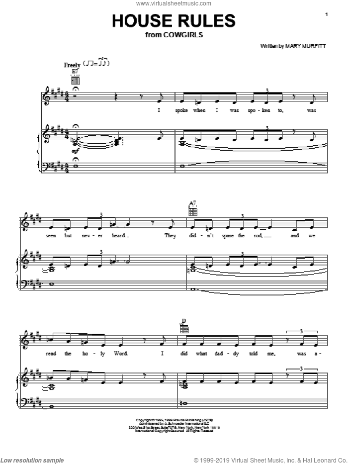 House Rules sheet music for voice, piano or guitar by Mary Murfitt. Score Image Preview.