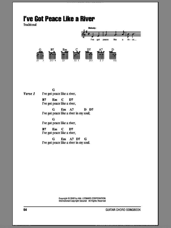 I've Got Peace Like A River sheet music for guitar (chords). Score Image Preview.