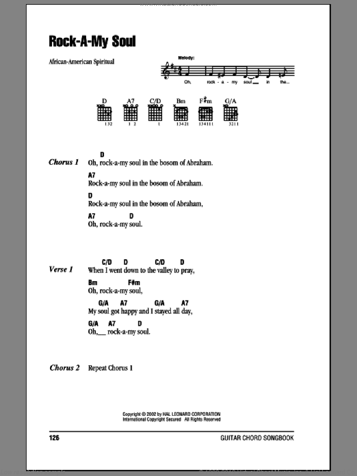 Rock-A-My Soul sheet music for guitar (chords). Score Image Preview.