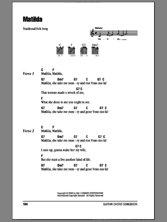 Matilda sheet music for guitar (chords), intermediate skill level