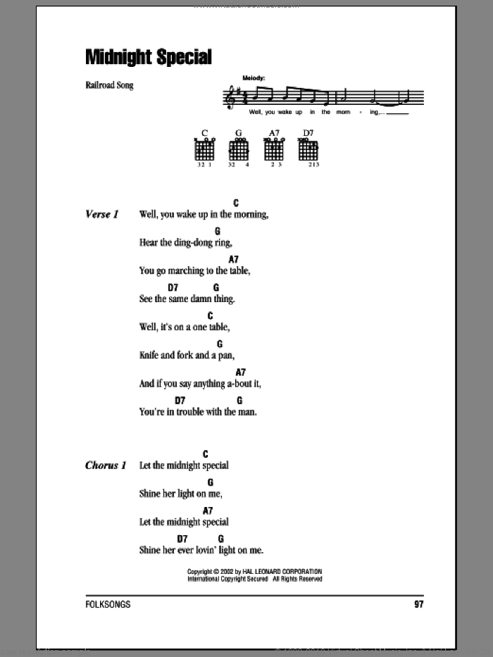 Midnight Special sheet music for guitar (chords) [PDF]