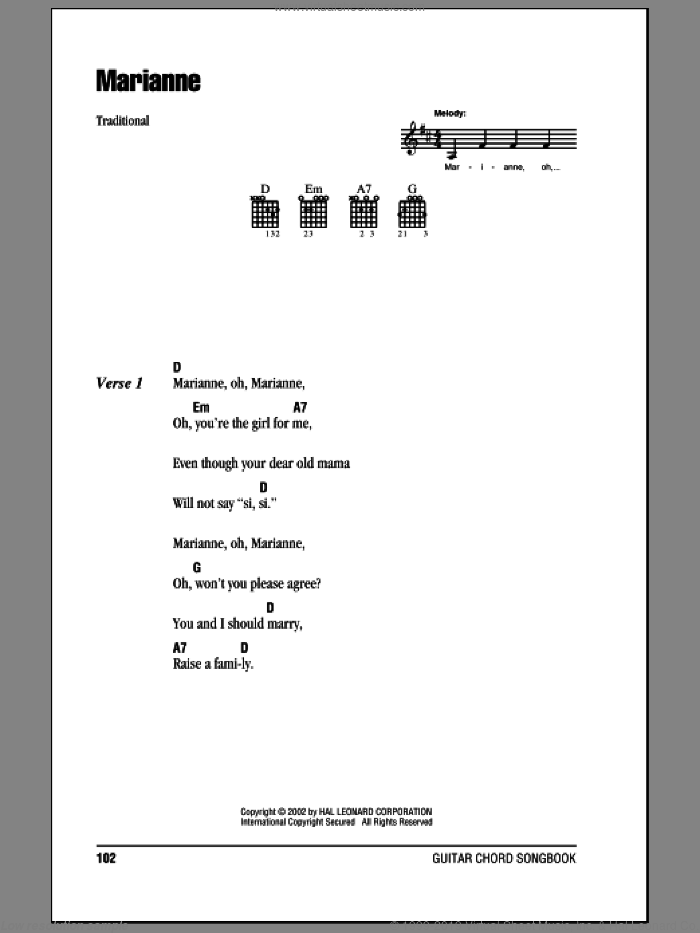 Marianne sheet music for guitar (chords). Score Image Preview.