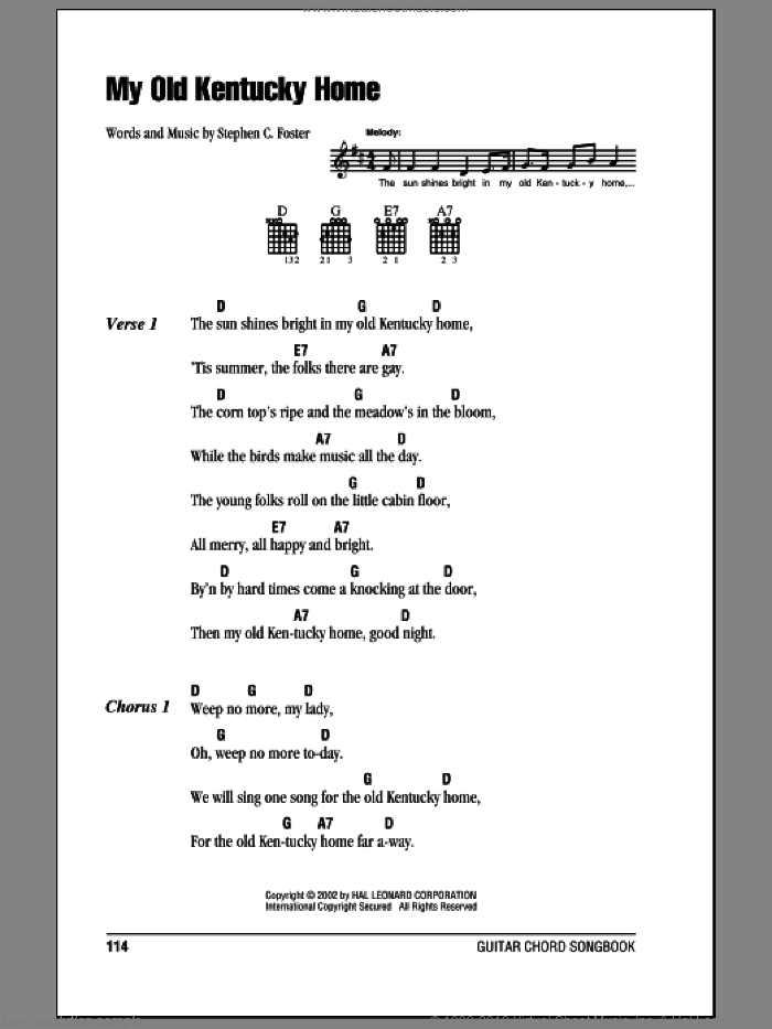 Foster - My Old Kentucky Home sheet music for guitar (chords)