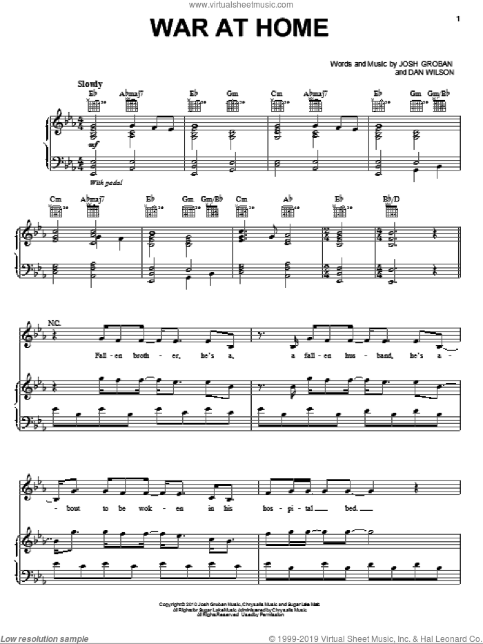 War At Home sheet music for voice, piano or guitar by Josh Groban and Dan Wilson, intermediate