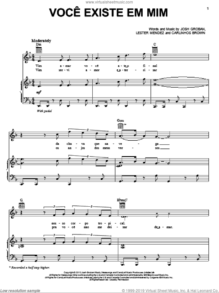 Voce Existe Em Mim sheet music for voice, piano or guitar by Lester Mendez and Josh Groban. Score Image Preview.