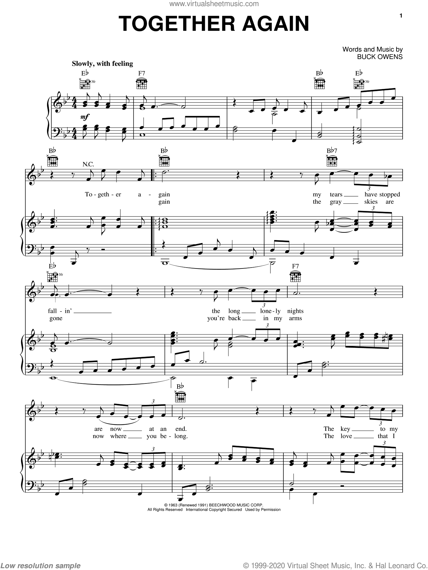 Together Again sheet music for voice, piano or guitar by Emmylou Harris and Buck Owens, intermediate skill level