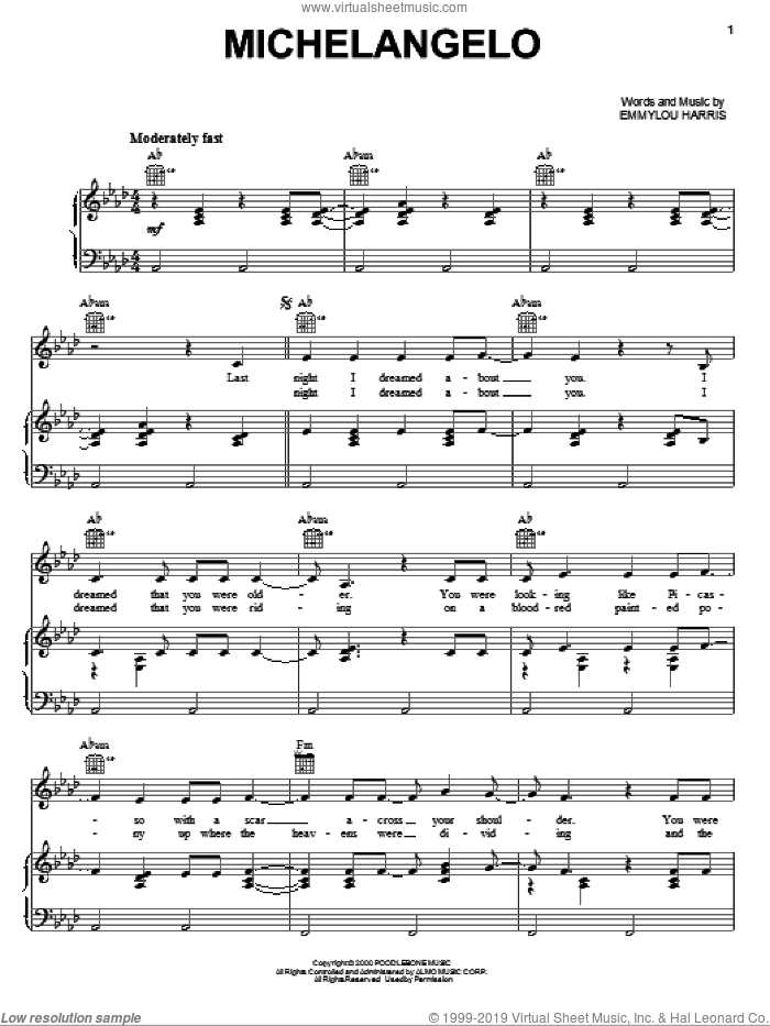 Michelangelo sheet music for voice, piano or guitar by Emmylou Harris. Score Image Preview.