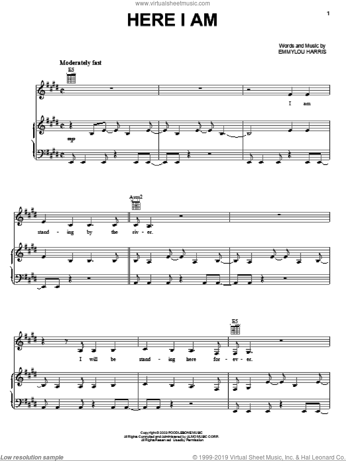 Here I Am sheet music for voice, piano or guitar by Emmylou Harris. Score Image Preview.