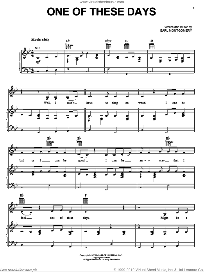 One Of These Days sheet music for voice, piano or guitar by Earl Montgomery and Emmylou Harris. Score Image Preview.