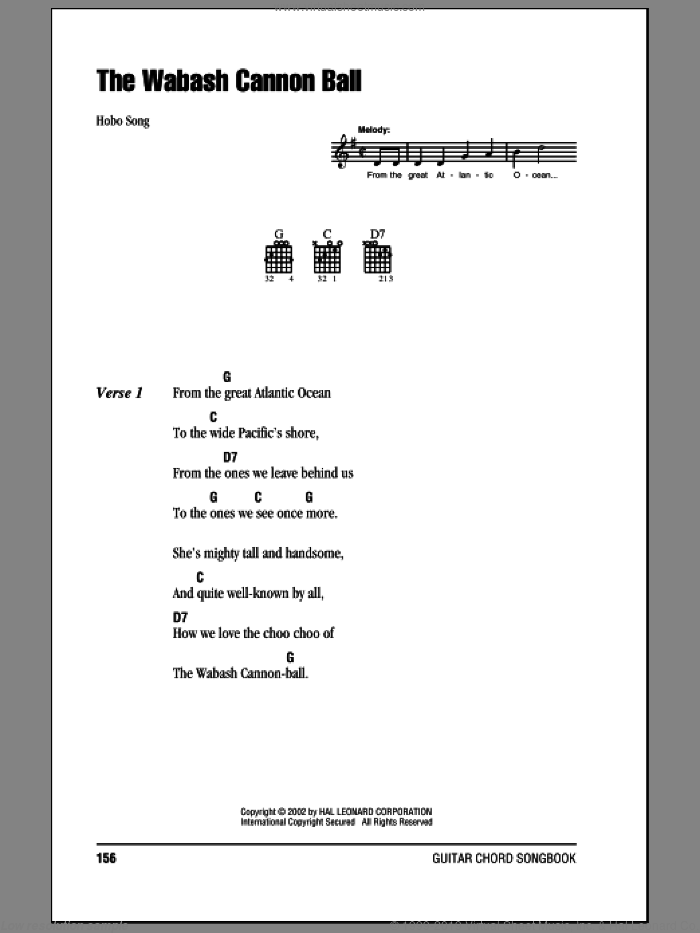 Wabash Cannonball sheet music for guitar (chords) by Roy Acuff and Hobo Song, intermediate