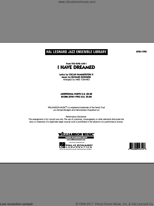 I Have Dreamed (COMPLETE) sheet music for jazz band by Oscar II Hammerstein