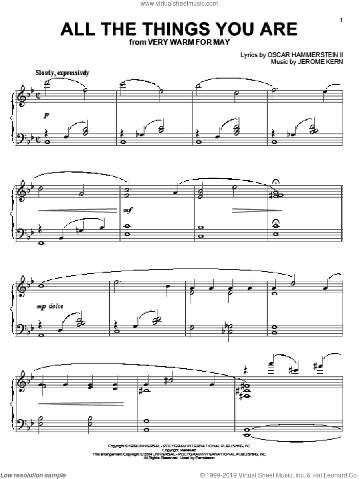 All The Things You Are, (intermediate) sheet music for piano solo by Jerome Kern, Phillip Keveren and Oscar II Hammerstein, wedding score, intermediate skill level