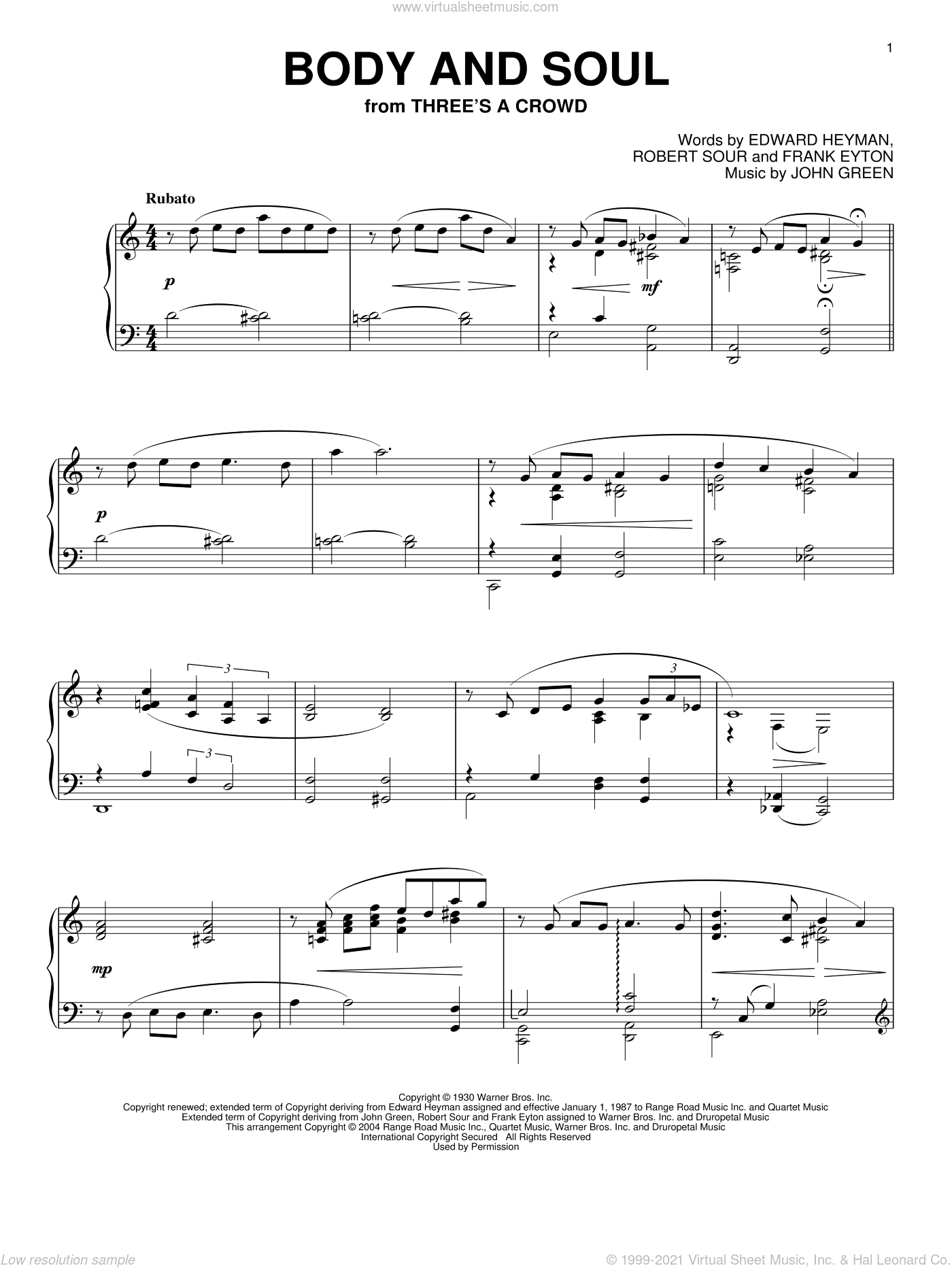 Body And Soul sheet music for piano solo by Robert Sour, Phillip Keveren, Edward Heyman, Frank Eyton and Johnny Green. Score Image Preview.