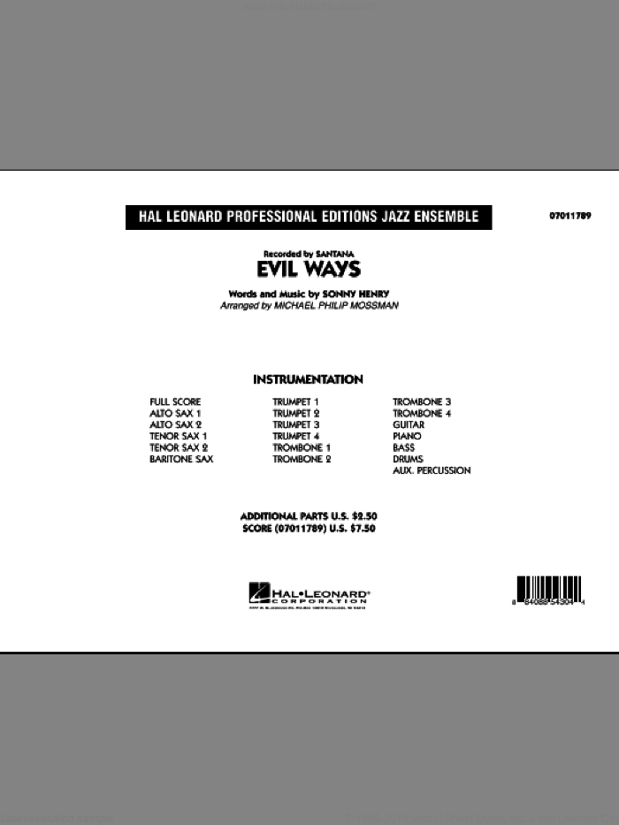 Evil Ways (COMPLETE) sheet music for jazz band by Michael Philip Mossman, Sonny Henry and Carlos Santana, intermediate skill level