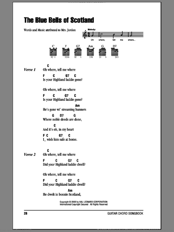 The Blue Bells Of Scotland sheet music for guitar (chords) by Mrs. Jordon, intermediate. Score Image Preview.