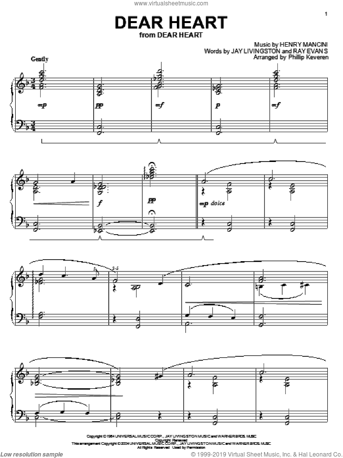 Dear Heart sheet music for piano solo by Ray Evans