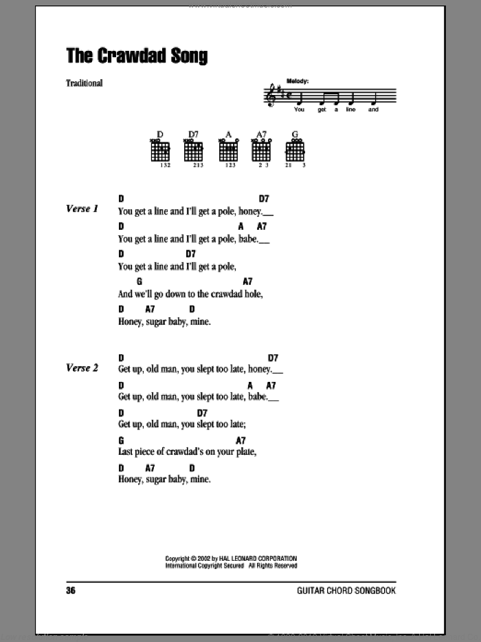 The Crawdad Song sheet music for guitar (chords). Score Image Preview.