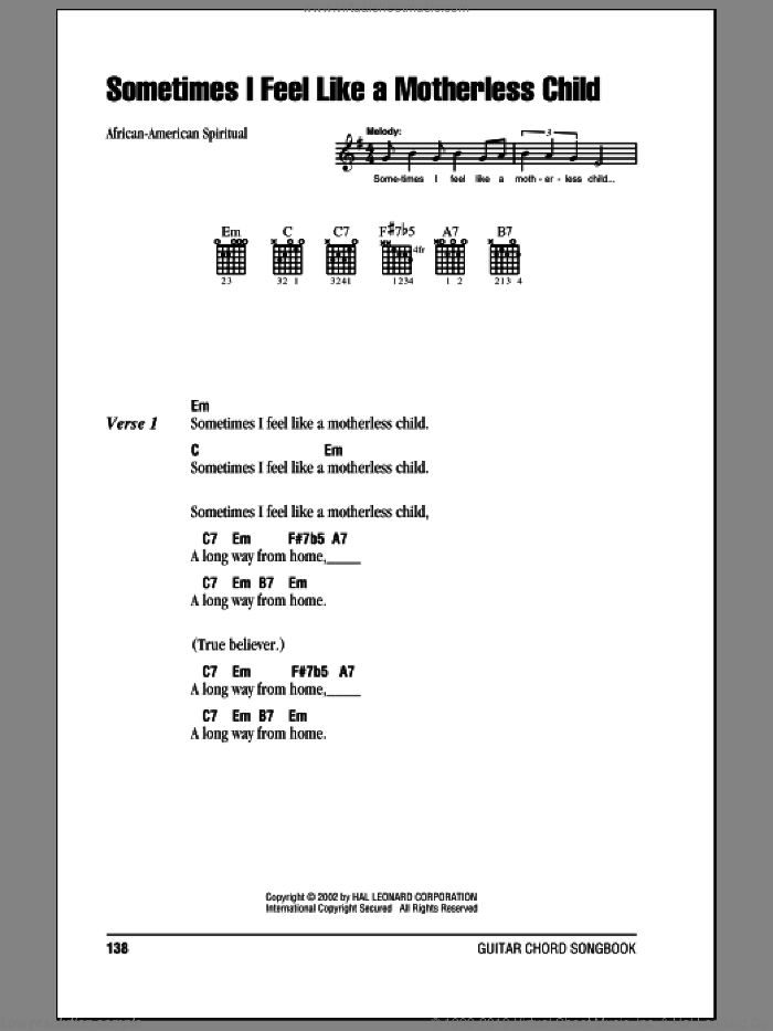 Sometimes I Feel Like A Motherless Child Sheet Music For Guitar Chords