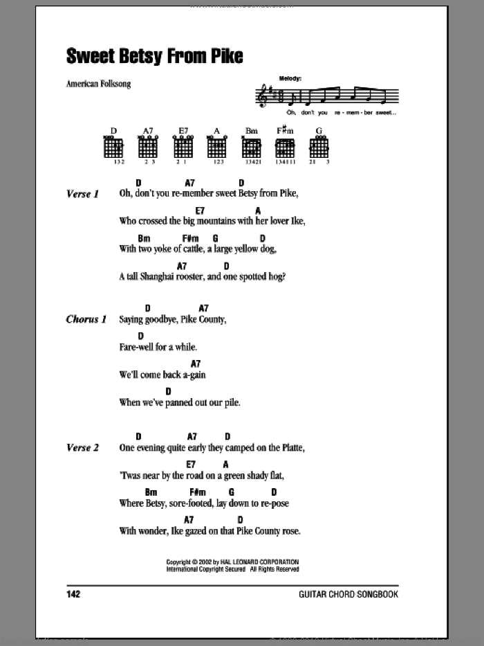 Sweet Betsy From Pike sheet music for guitar solo (chords, lyrics, melody) by American Folksong