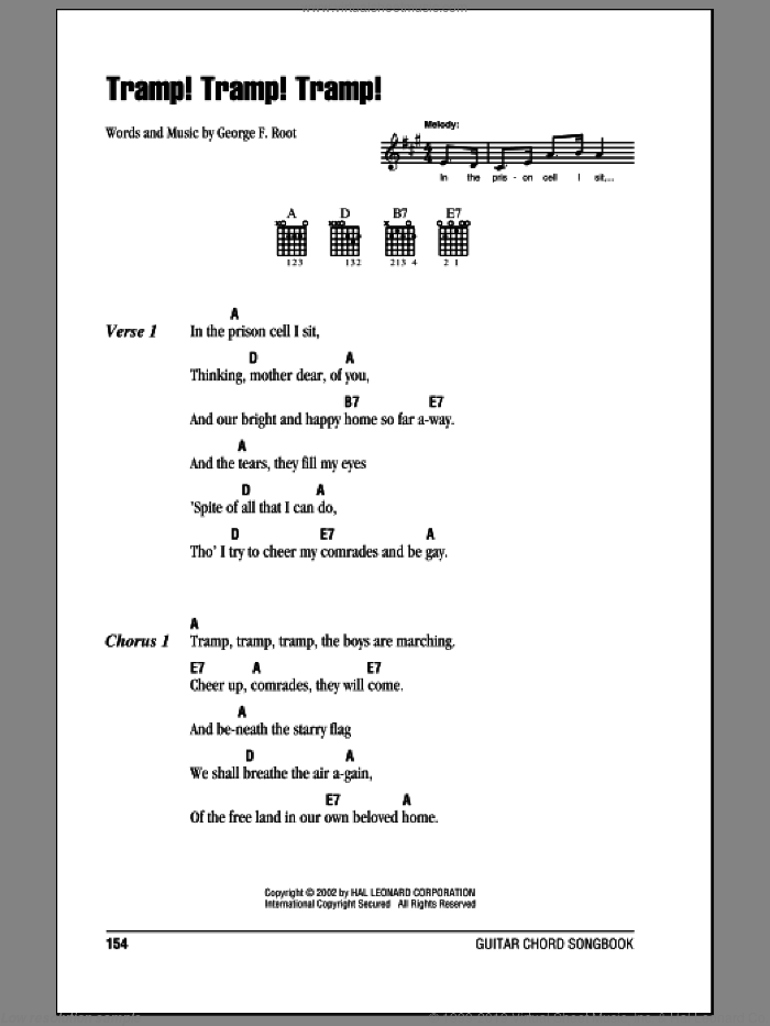 Tramp! Tramp! Tramp! sheet music for guitar (chords) by George F. Root, intermediate