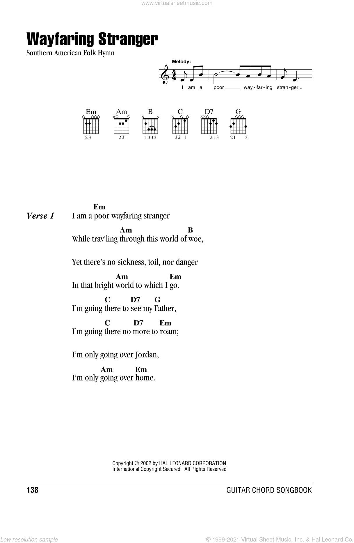 Wayfaring Stranger sheet music for guitar (chords) [PDF]