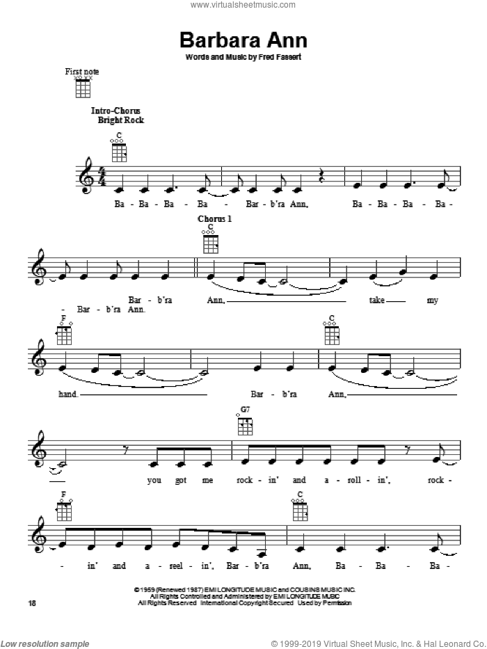 Barbara Ann sheet music for ukulele by The Beach Boys and Fred Fassert, intermediate skill level