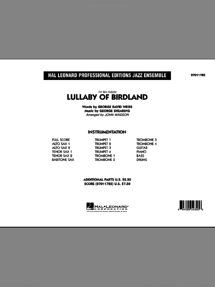 Lullaby Of Birdland (COMPLETE) sheet music for jazz band by George David Weiss, George Shearing and John Wasson, intermediate skill level