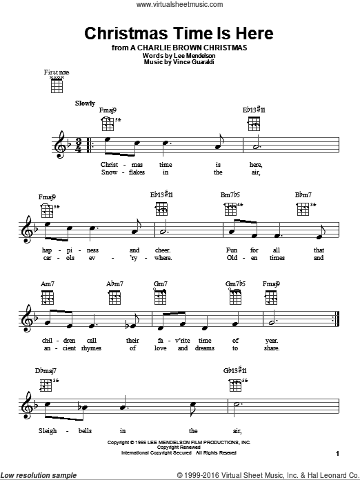 Christmas Time Is Here sheet music for ukulele by Vince Guaraldi and Lee Mendelson. Score Image Preview.