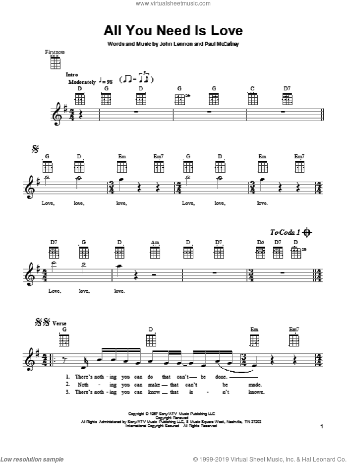 All You Need Is Love sheet music for ukulele by The Beatles, John Lennon and Paul McCartney, intermediate skill level