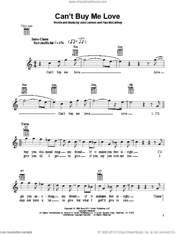 Can't Buy Me Love sheet music for ukulele by Paul McCartney, The Beatles and John Lennon. Score Image Preview.