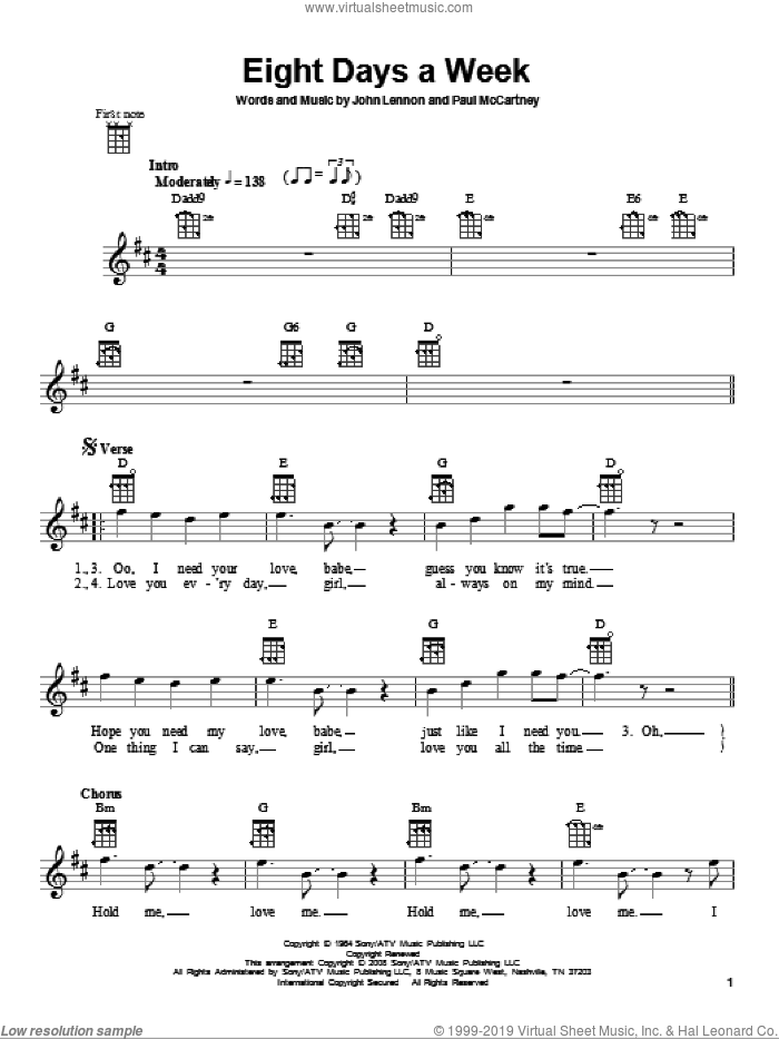 Eight Days A Week sheet music for ukulele by Paul McCartney, The Beatles and John Lennon. Score Image Preview.
