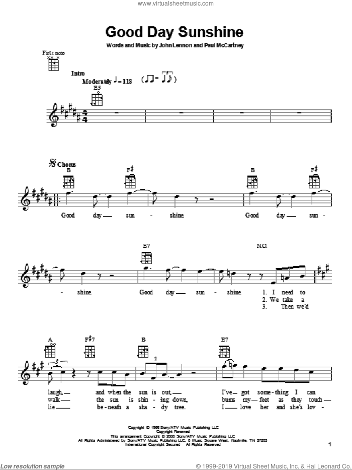 Good Day Sunshine sheet music for ukulele by Paul McCartney, The Beatles and John Lennon. Score Image Preview.